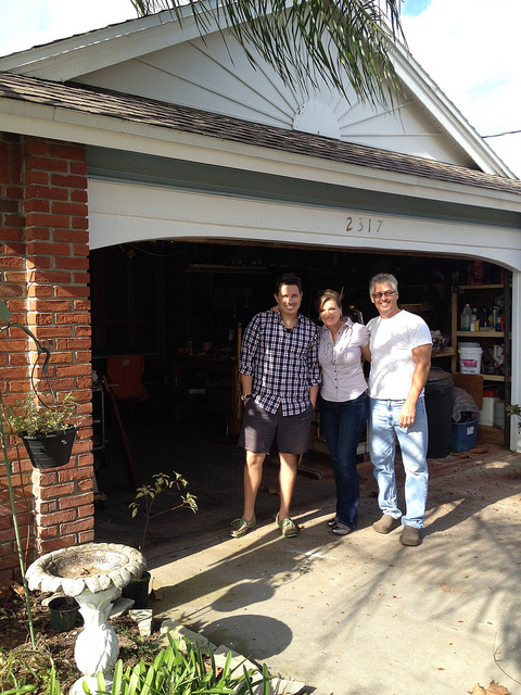 Brent, Lisa, and David Kraus in front of the Ella Bing Headquarters :)
