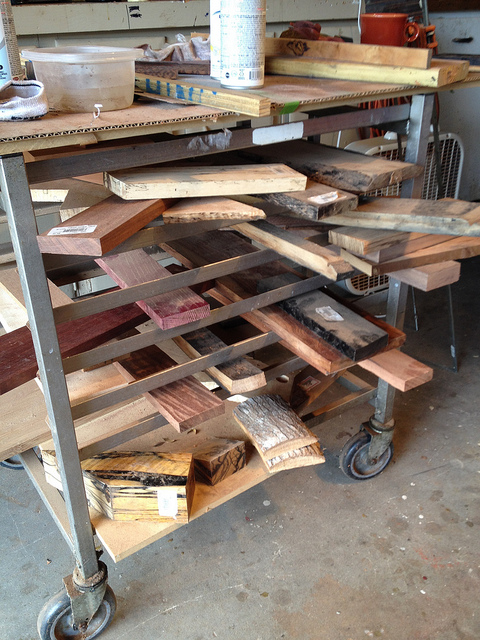 Raw blocks of wood, awaiting their ultimate bow tie form