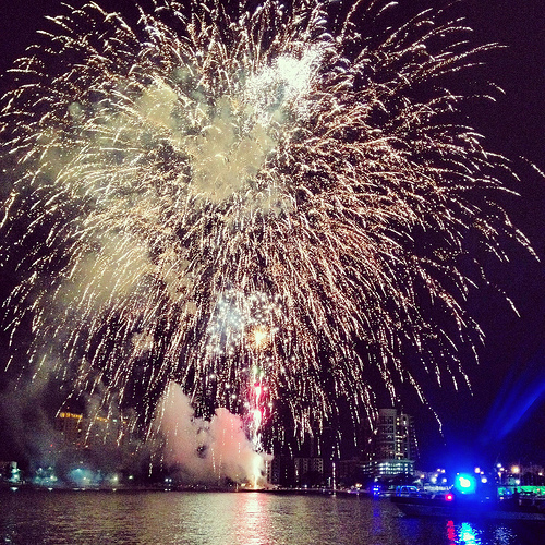 Fireworks at New Years at the mouth of the Hillsborough River
