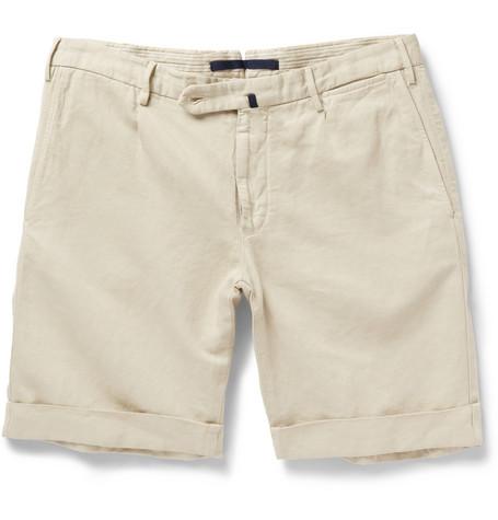 Incotex (made by Slowear) linen-cotton glen shorts, at MR PORTER