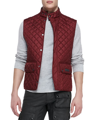 Belstaff burgundy quilted vest at Neiman Marcus