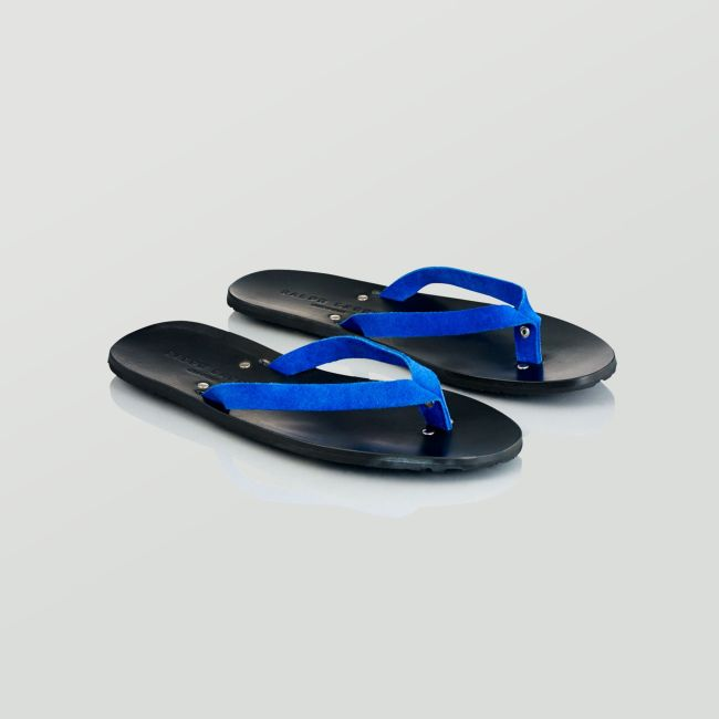 Ralph Lauren Collection Paxhill sandal in blue suede and black leather