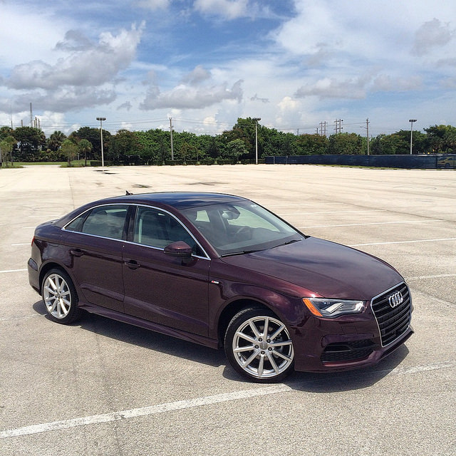 A 2015 Audi A3 TDI clean diesel, in shiraz red over gray