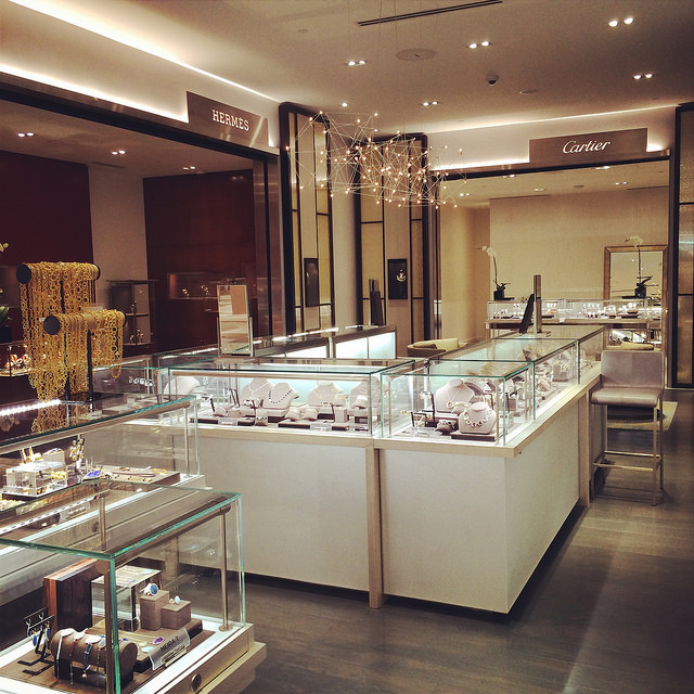 Hermes & Cartier hard vendors in the fine jewelry salon at Saks Sarasota