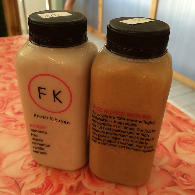 Bottled drinks include cold-pressed juices and coffee-type bevs