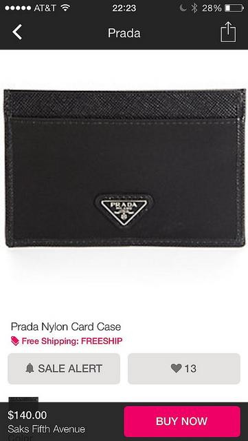 Prada Nylon Card Case at Saks.com