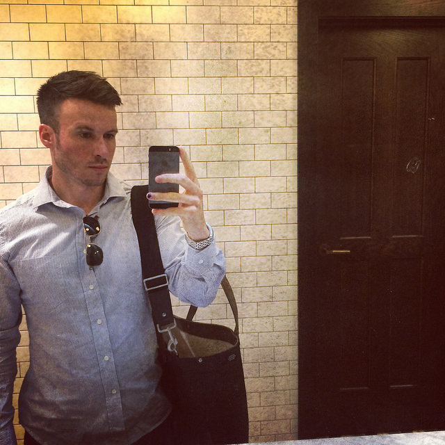 """Selfie at the Oxford Exchange: Gant Rugger dreamy """"Hugger"""" oxford I had additionally tailored (darts in lower back)"""