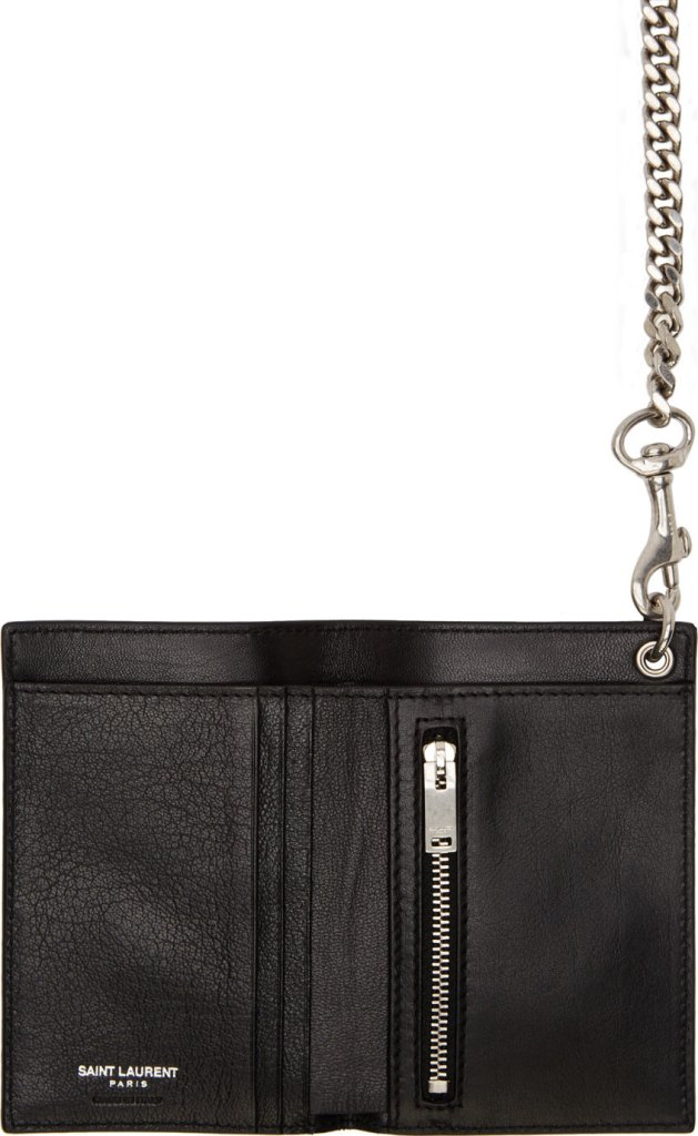 Saint Laurent black leather chain wallet at SSENSE