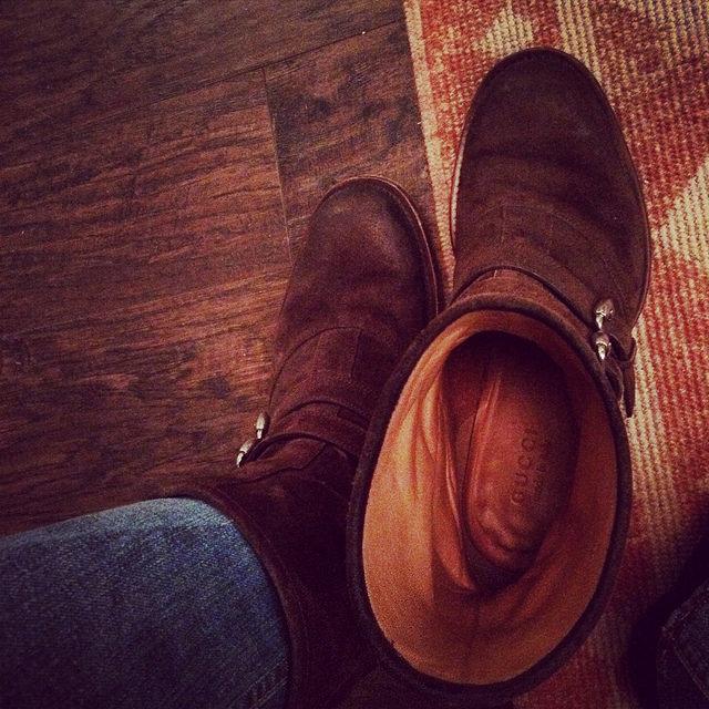 Burnished suede Gucci biker boots