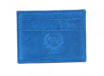 Del Toro cobalt suede card case