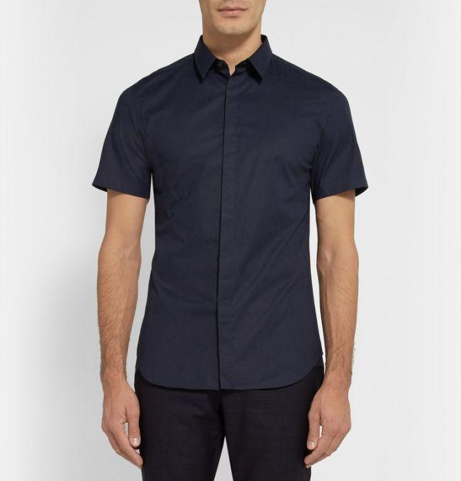 Calvin Klein Collection black cotton short-sleeve button-down