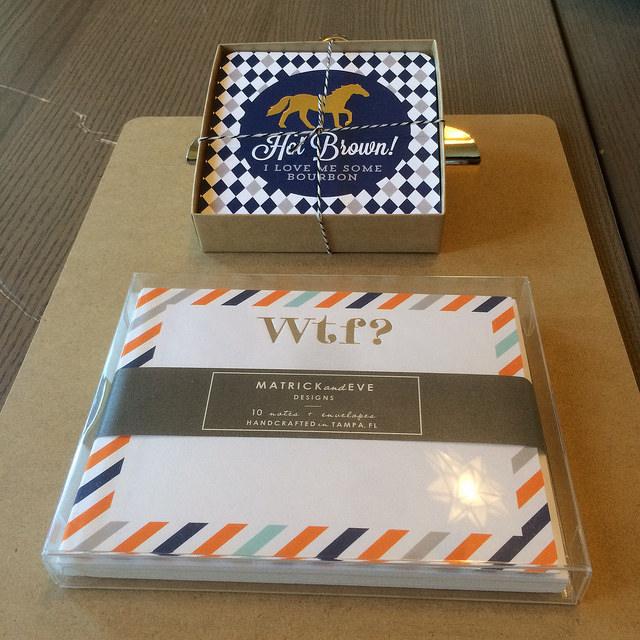 Invitation Consultants' new line Matrick & Eve card set and decorative coasters