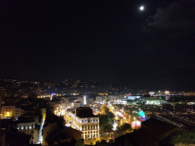 Cannes at night, from La Castre