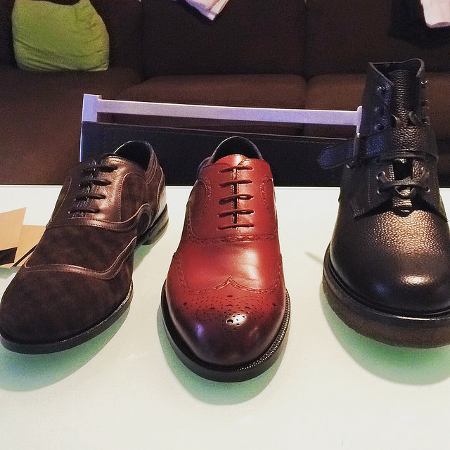 "Bottega Veneta FW15 sale purchases! Brown suede oxfords with a criss-crossed gingham-esque print, dark red burnished brogues, and ""rice-grain"" leather boots on a crepe sole."