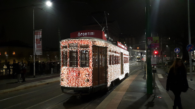 Glittery holiday tram!!