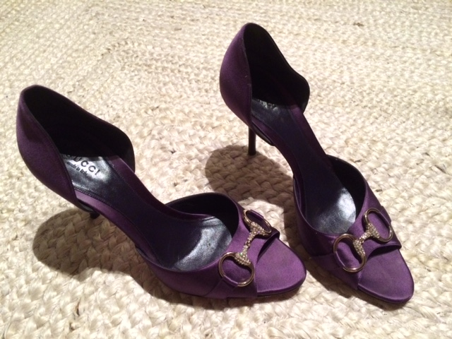 Gucci purple satin D'orsay heels with crystal horsebit detail, purchased by a friend