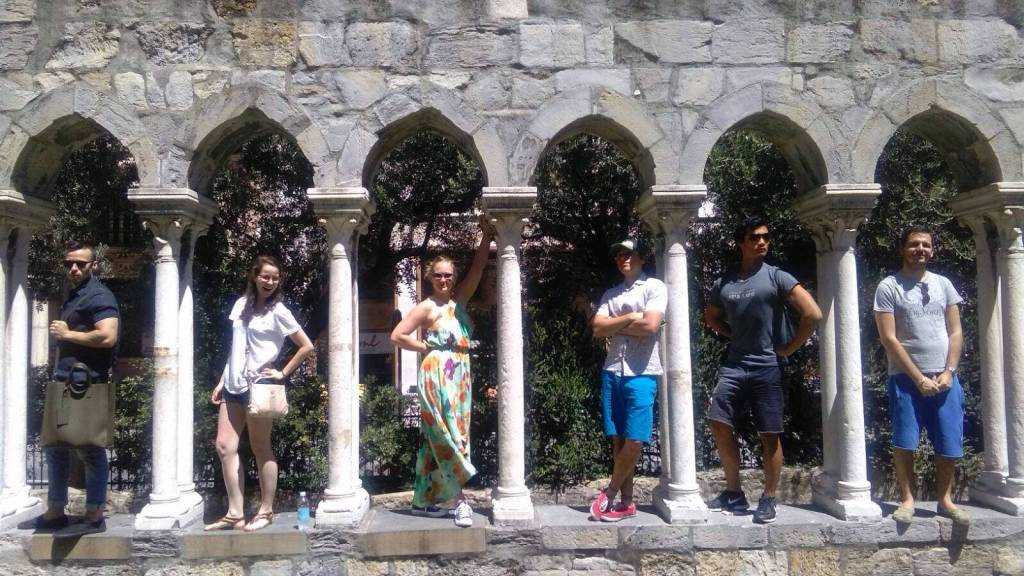 Posing at the home of Christopher Columbus in Genova