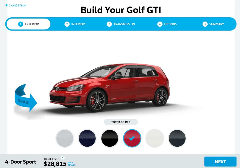 2017 Volkswagen Golf GTI online configurator