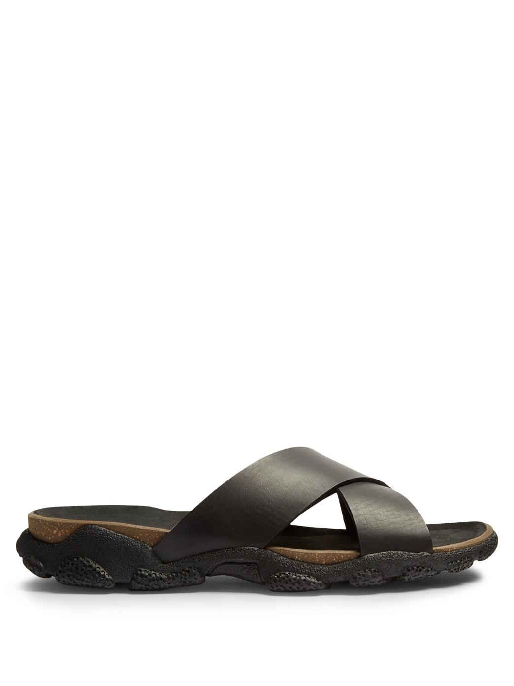 Stella McCartney criss-cross slide sandals in vegan leather, cork, and rubber