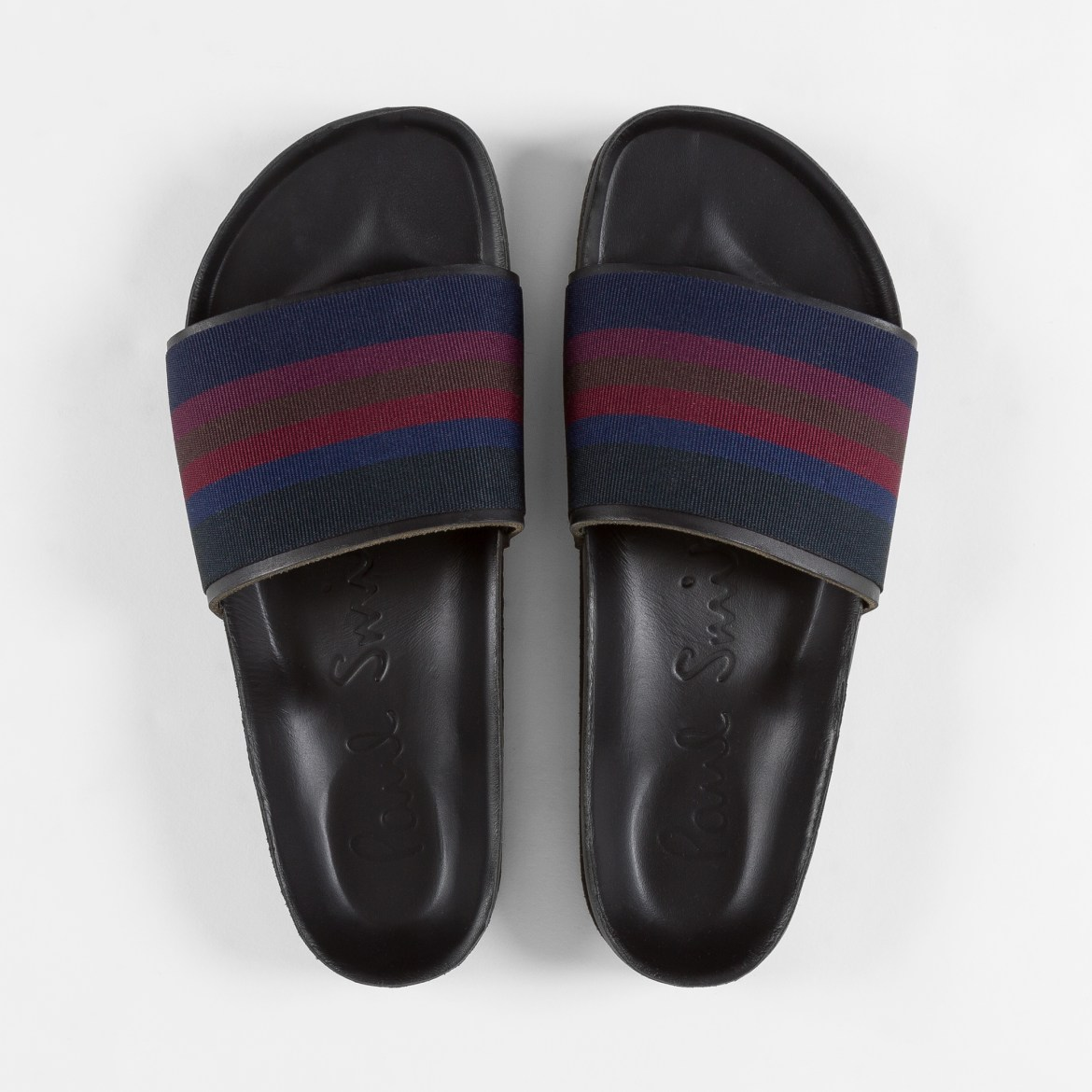 Paul Smith leather and grosgrain pool slides