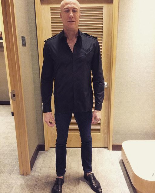 Client Rob in a Neil Barrett military shirt