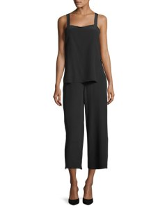 Theory Dinnlean Mosaic Wide-Leg Sleeveless Jumpsuit