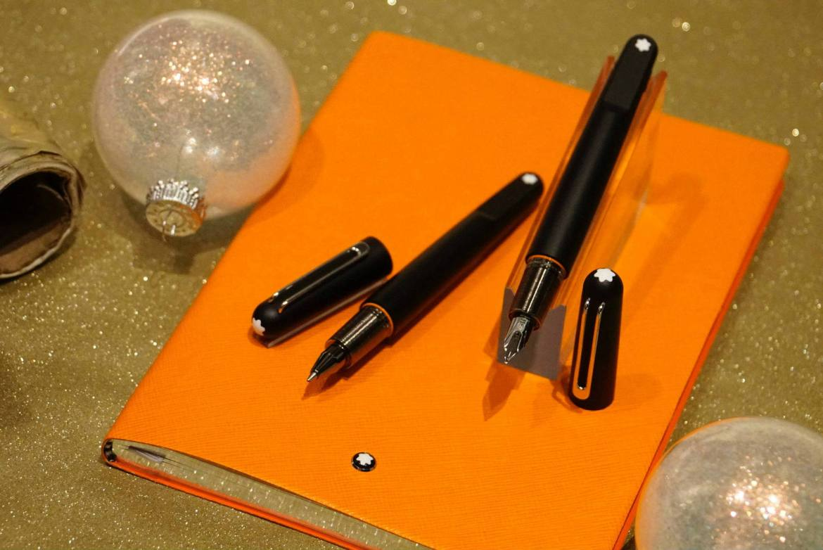 Montblanc M Ultra Black rollerball pen and fountain pen with #146 stationery notebook lucky orange