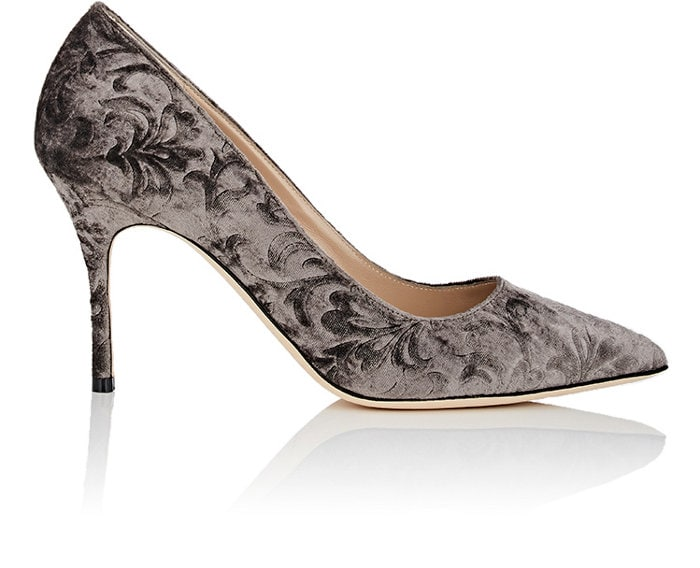 Manolo Blahnik's BB pumps are handcrafted in Italy of grey velvet jacquard. This signature style is named after French movie star Brigitte Bardot and features a pointed toe and thin heel.
