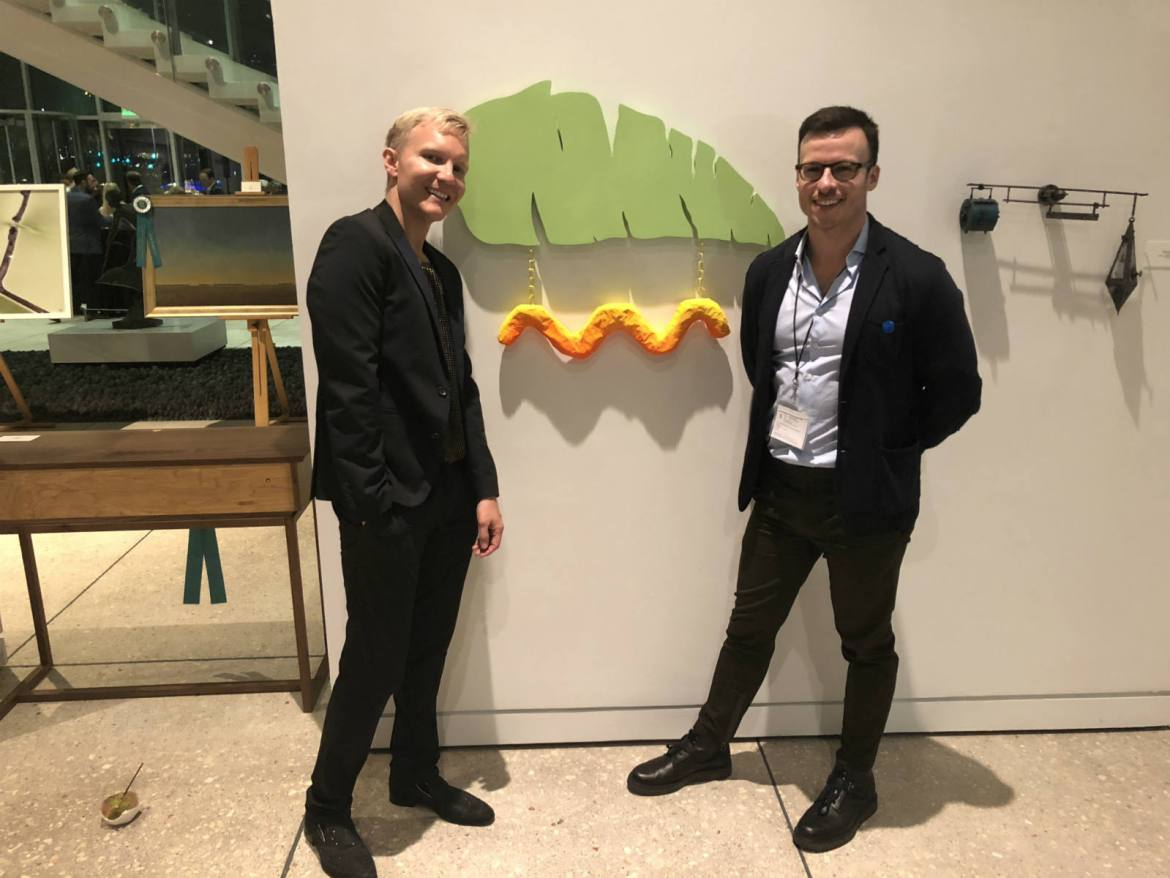 Paul and I at galaRE: in front of an award-winning piece from Emiliano Settecasi