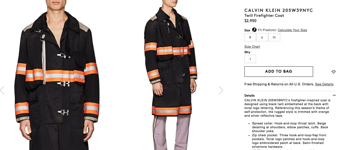 CALVIN KLEIN 205W39NYC Twill Firefighter Coat at Barneys
