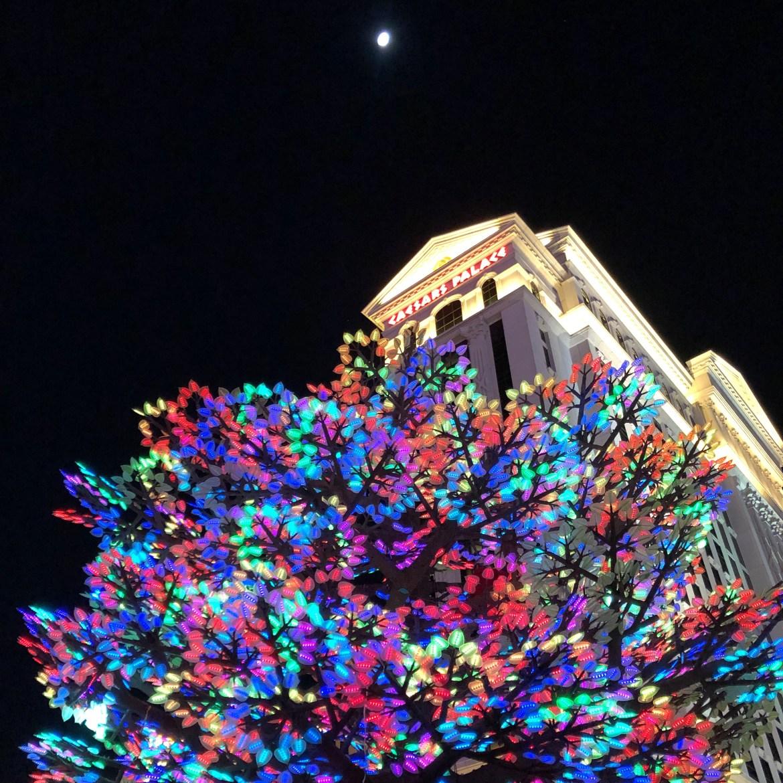 Caesars Palace at night