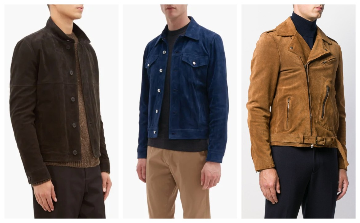 Fall 2019 menswear suede jackets from The Row, Paul Smith, and Salvatore Santoro
