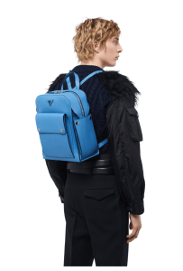 Prada poppy blue leather backpack FW19
