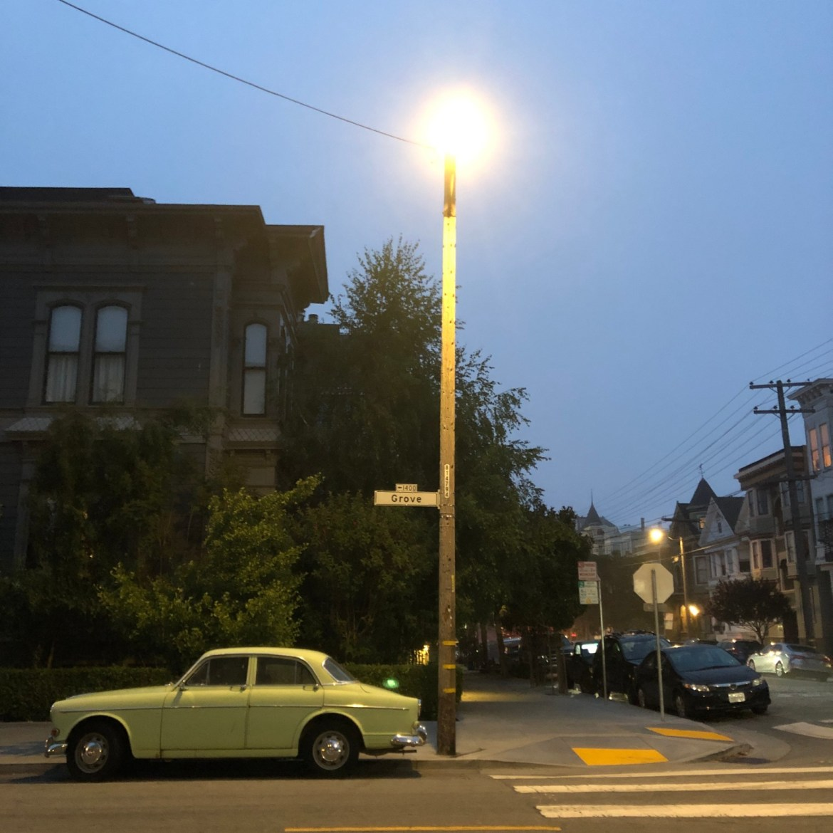 A typical summer evening scene in NoPa (fog)