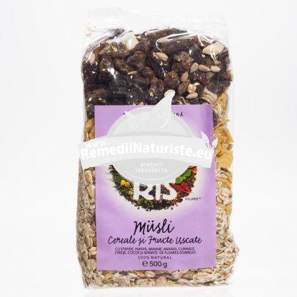 MUSLI 500gr SOLARIS(punga) Tratament naturist amestec din fulgi cereale si fructe amestec de fulgi, cereale si fructe