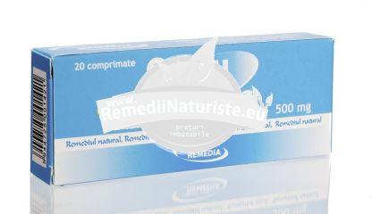 CALCIU LACTIC 500mg 20cpr REMEDIA Tratament naturist deficit de calciu oase dinti reduce riscul osteoporozei