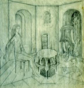 Visita Inesperada (Dibujo Previo), 1958.