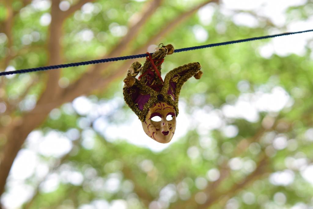 máscara de carnaval pendurada em um fio com árvores ao fundo