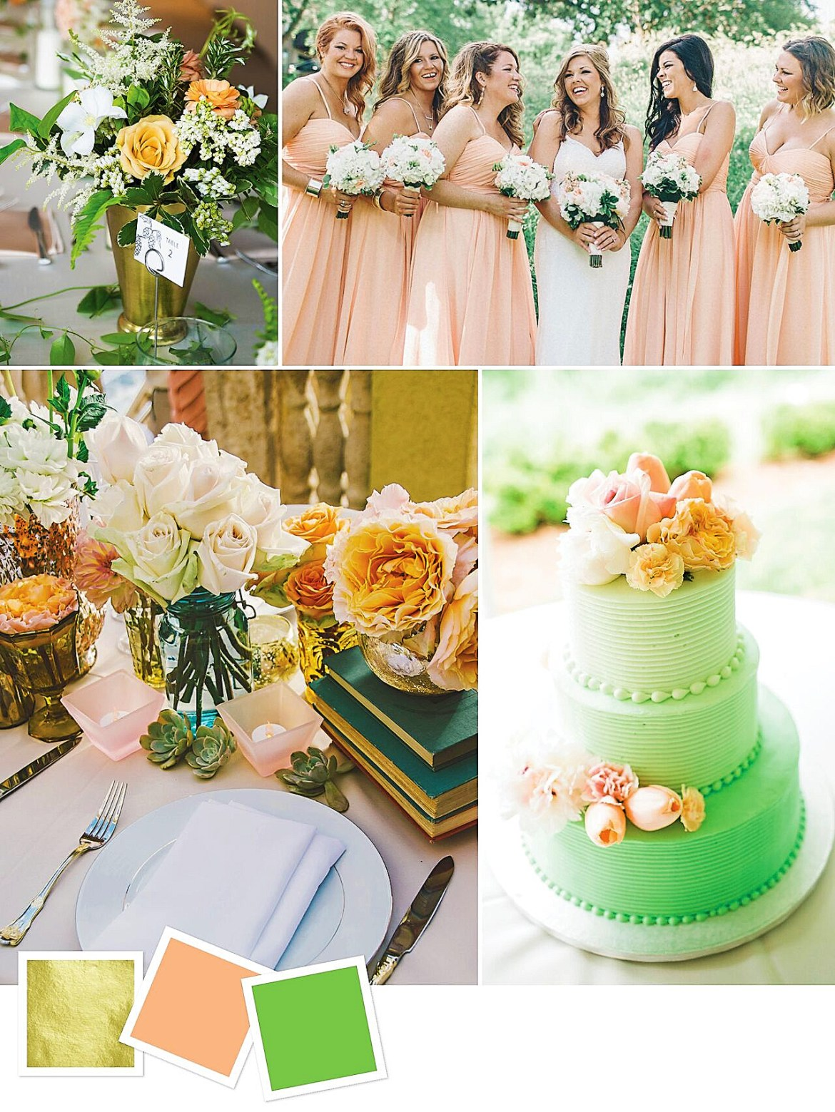 Fresh Wedding Color Palette for Your Wedding Themes   Gold + Peach + Green : Gold, Peach And Green Wedding Color Palette