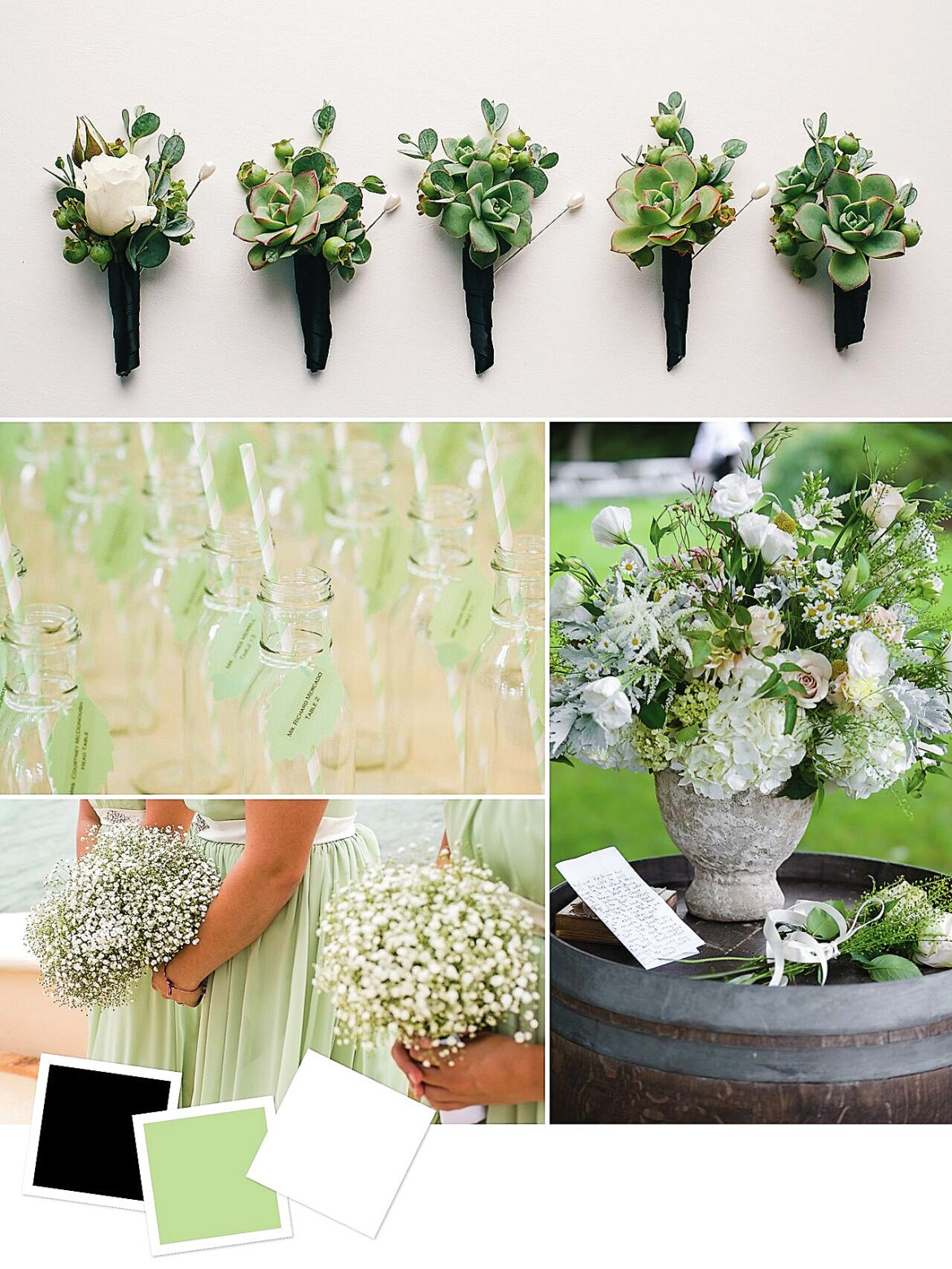 Fresh Wedding Color Palette for Your Wedding Themes   Black + Pale Green + White : Chic Black And Pale Green Wedding Color Combination