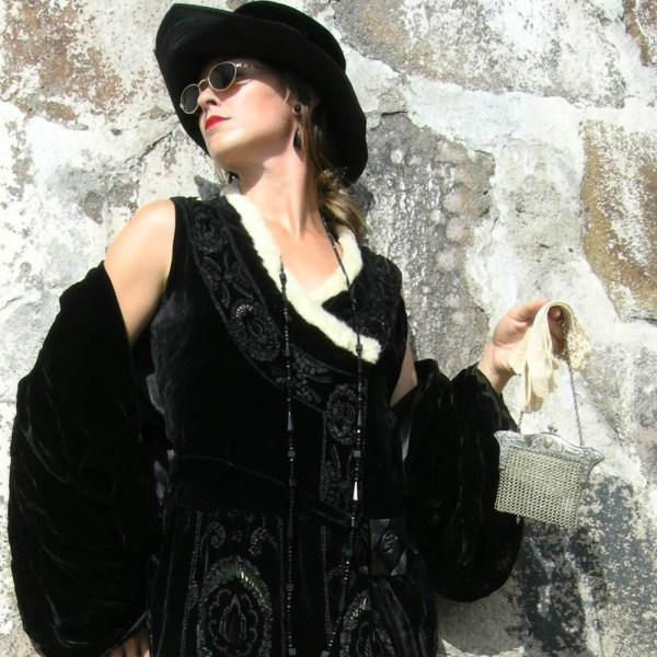 art deco silk velvet tunic accessories - remix vintage fashion