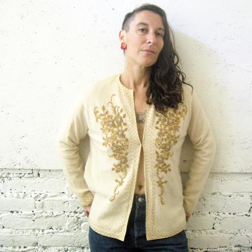50s beaded cardigan sweater gold ivory-remix vintage fashion