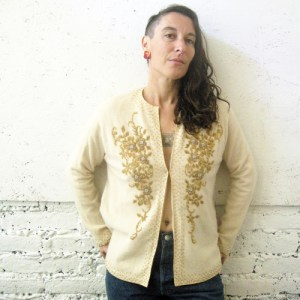 50s beaded cardigan sweater gold ivory-remix vintage fashion