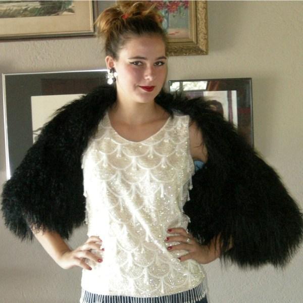 designer fur 80s elegant dramatic black