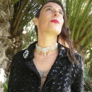 upcycle design crystal ab choker sequin jacket-the remix vintage fashion