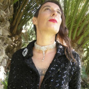 upcycle design crystal ab choker sequin jacket-the remix vintage fashion