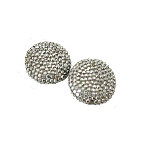 Richard Kerr Silver Encrusted Clip Earrings_the remix vintage fashion