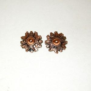 renoir copper clip earrings geometric modernist style-the remix vintage fashion