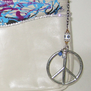 leather clutch bag peace sign upcycle designs-the remix vintage fashion