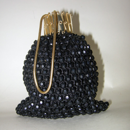 gate neck purse beaded accordion opening-the remix vintage fashion